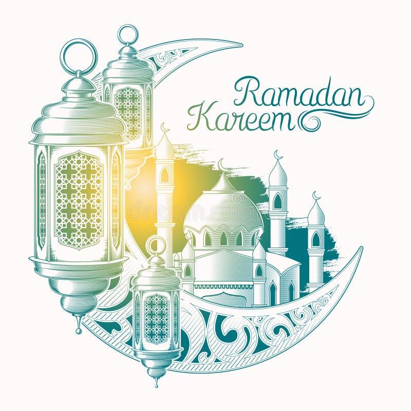 Wektorowa ilustracja dla Ramadan Kareem z nakreśleniem Ramadan lampion, góruje meczet, rocznik księżyc odizolowywająca na bielu ilustracji