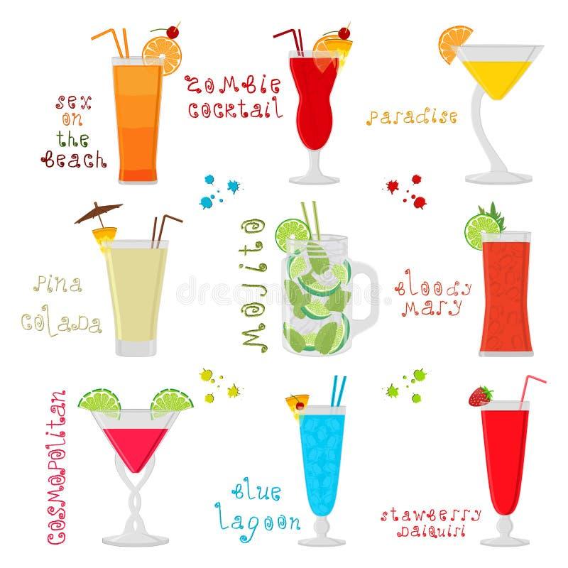 Wektorowa ilustracja dla słodkiego alkoholu koktajlu w szkle ilustracji