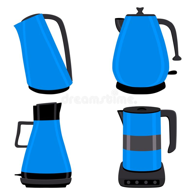 Wektorowa ilustracja dla setu barwioni elektryczni teapots ilustracja wektor