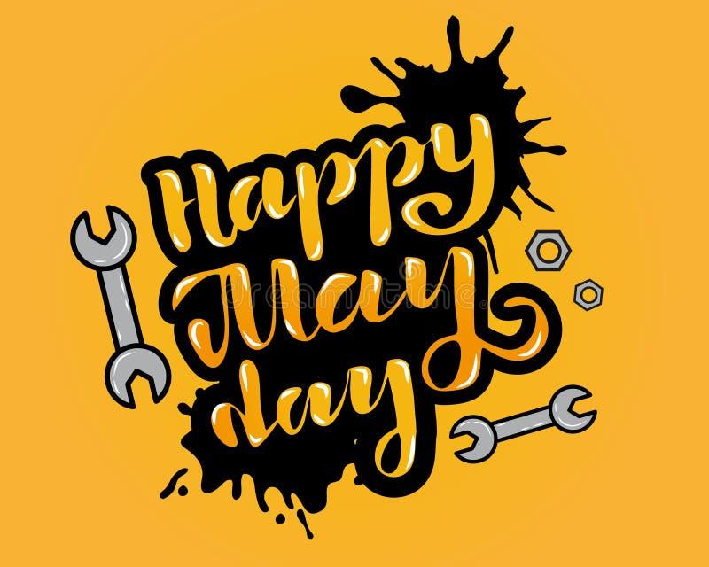 Wektorowa ilustracja dla szczęśliwego święto pracy - święto pracy świętowanie na Maja 1st ręki literowaniu dla powitań, sztandar, ilustracji