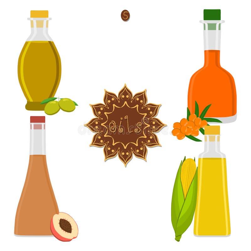 Wektorowa ilustracja dla ustalonego różnorodnego butelka oleju royalty ilustracja