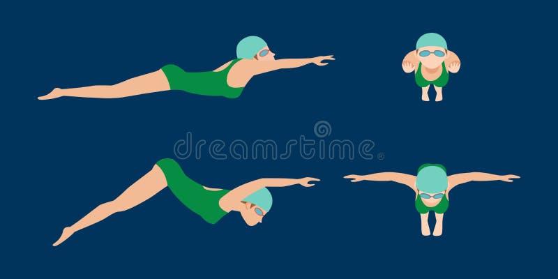 Wektorowa ilustracja dopłynięcie stylu planu różne pływaczki mężczyzna i kobieta w basenu sporcie ćwiczy royalty ilustracja