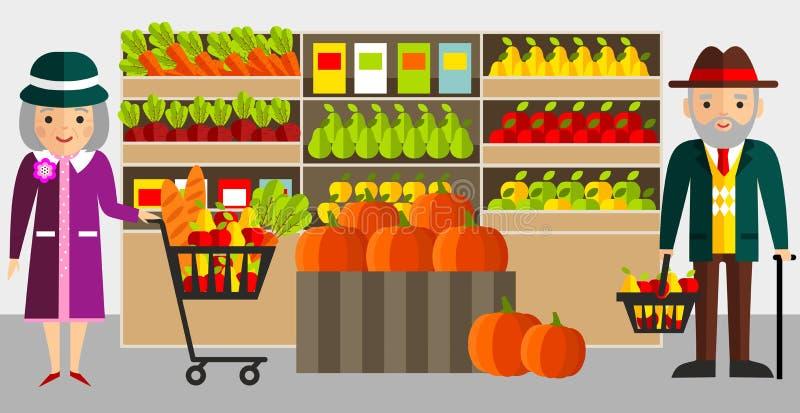 Wektorowa ilustracja dorosła nabywca dla robić zakupy proces