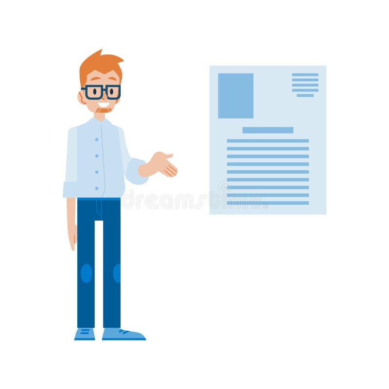 Wektorowa ilustracja dostarcza prezentację przy spotkaniem lub wykładem biznesmen ilustracji