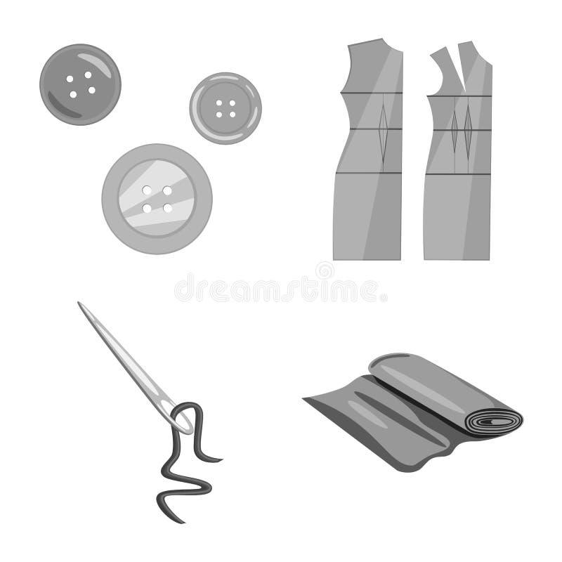 Wektorowa ilustracja dressmaking i tkanina znak Kolekcja dressmaking i handcraft wektorow? ikon? dla zapasu ilustracji