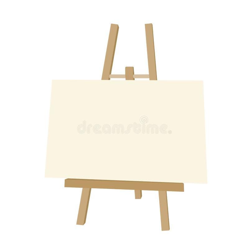 Wektorowa ilustracja drewniana sztaluga z pustym papierem, ilustracja wektor