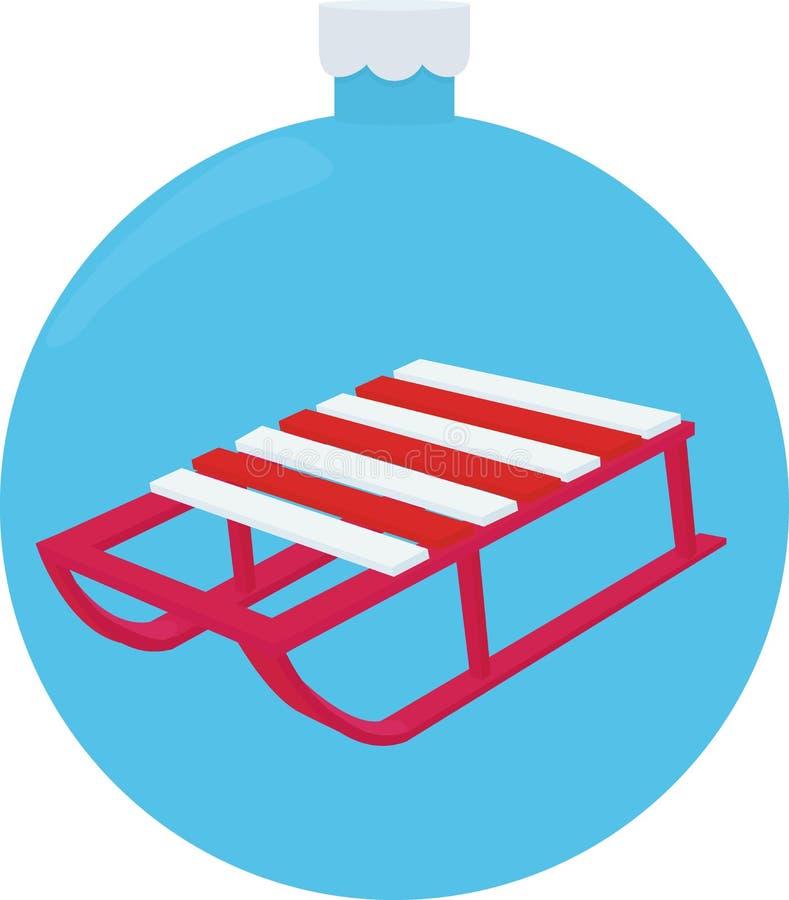 Wektorowa ilustracja drewnianej czerwieni barwioni sania Retro przyglądający czerwony śnieżny sanie dla dzieciaków ilustracja wektor