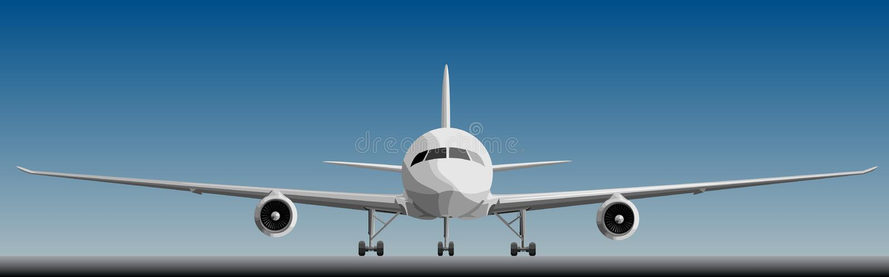 Wektorowa ilustracja duży airplan w przodzie. ilustracja wektor