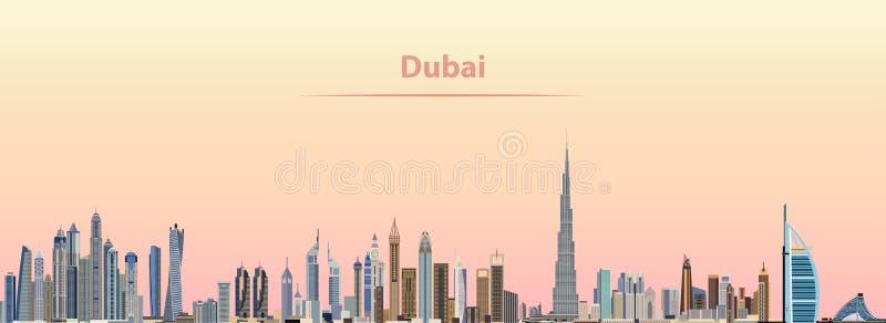 Wektorowa ilustracja Dubaj miasta linia horyzontu przy wschodem słońca ilustracja wektor