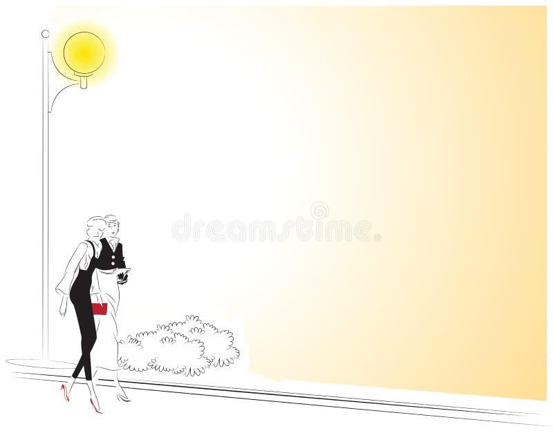 Wektorowa ilustracja - Dwa dziewczyny chodzi wzdłuż ulicy ilustracji