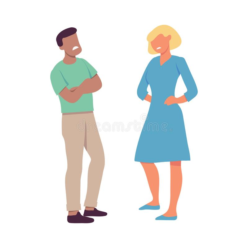 Wektorowa ilustracja dwa ludzie który obrzydzają z each inny royalty ilustracja