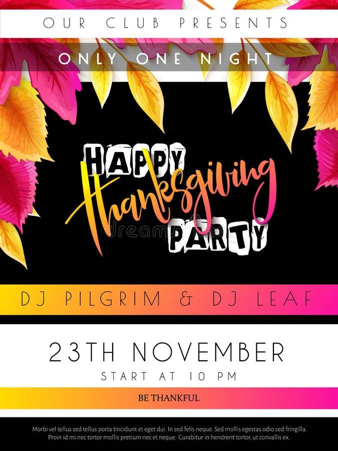 Wektorowa ilustracja dziękczynienia przyjęcia plakat z ręki literowania etykietką z jaskrawą jesienią - szczęśliwy dziękczynienie ilustracji