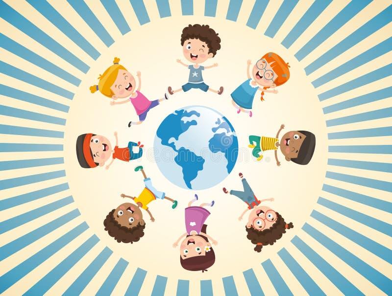 Wektorowa ilustracja dzieci Bawić się Dookoła Świata ilustracji
