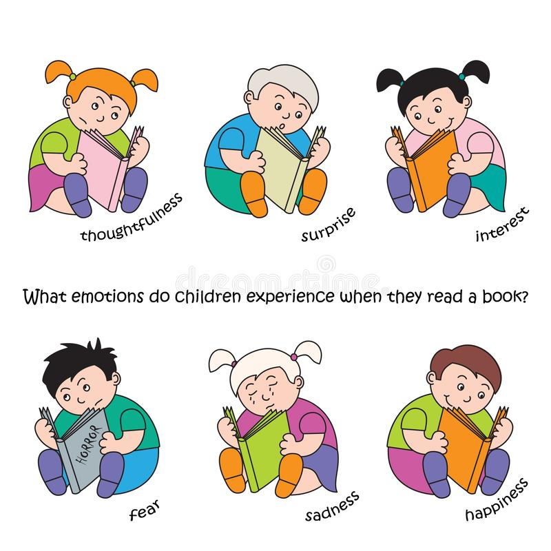 Wektorowa ilustracja dzieci czyta książkę, set dziecka ` s emocje i nastroje, royalty ilustracja