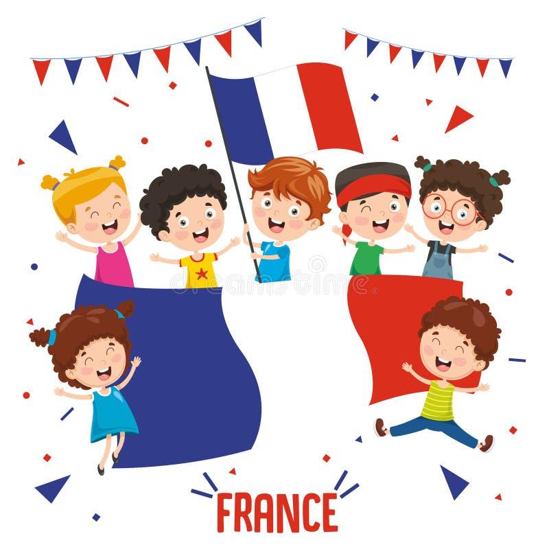 Wektorowa ilustracja dzieci Trzyma Francja flagę ilustracja wektor