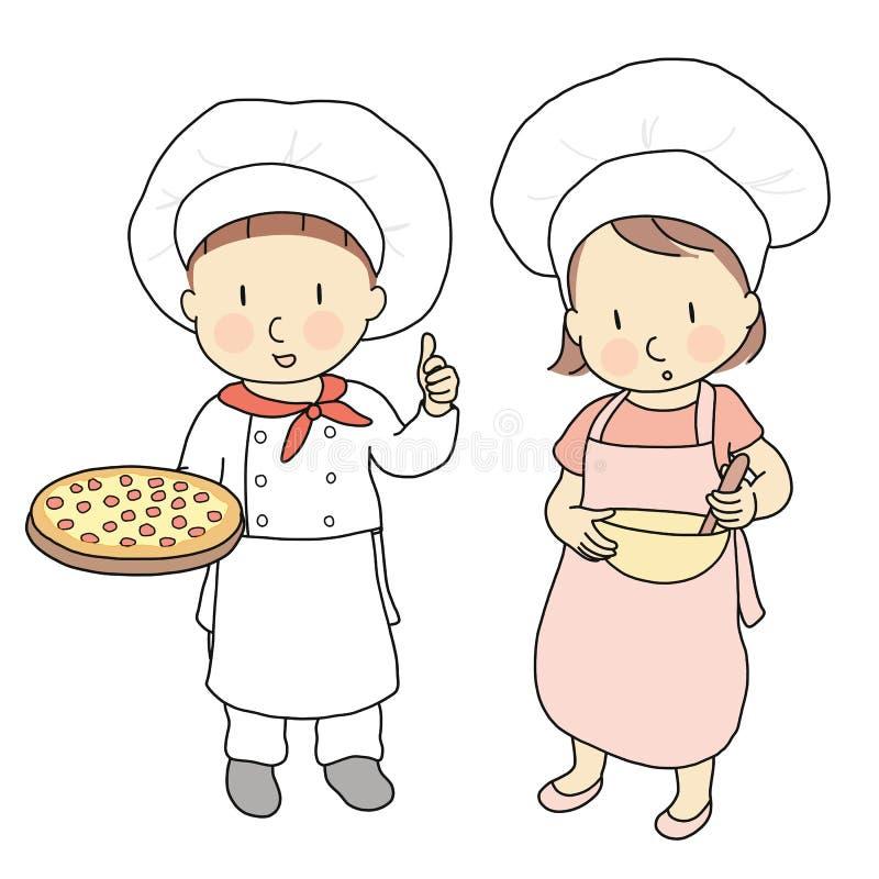 Wektorowa ilustracja dzieciaków zawody, pizza szef kuchni & kucharz, Co chcę być gdy r up Dzieci zajęcia kostiumowi Dzieciństwo ilustracji