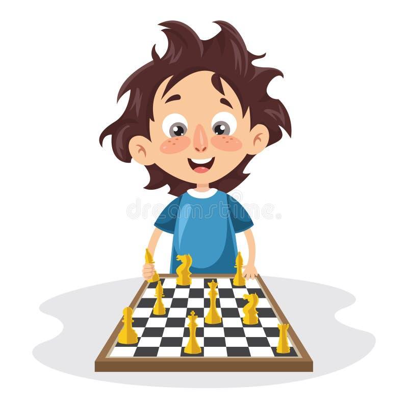 Wektorowa ilustracja dzieciak Bawić się szachy ilustracja wektor