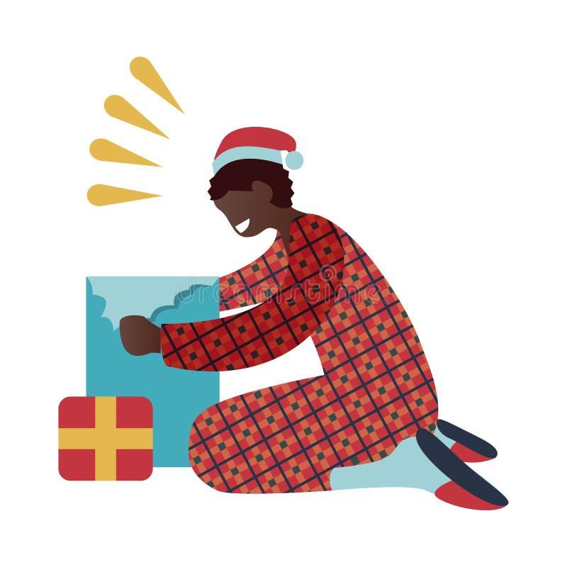 Wektorowa ilustracja dzieciak chłopiec w czerwonych piżamach i Santa Claus otwarcia prezenta kapeluszowym pudełku ilustracja wektor