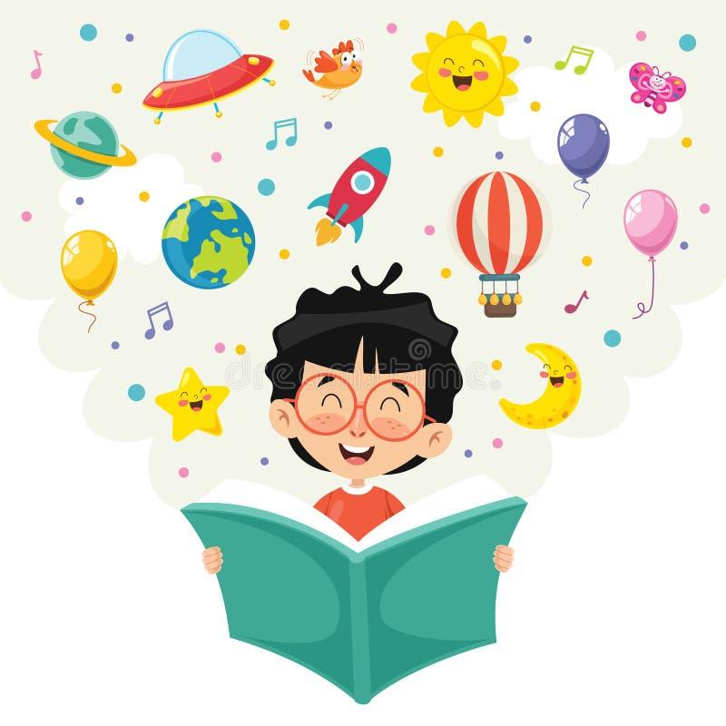 Wektorowa ilustracja dzieciak Czytelnicza książka ilustracja wektor