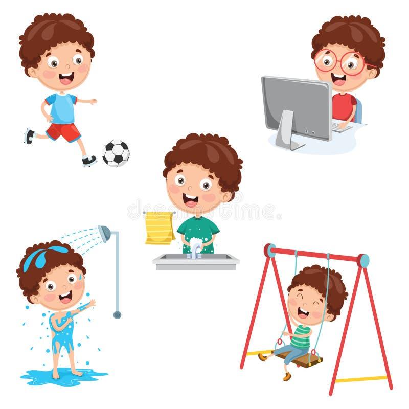 Wektorowa ilustracja dzieciak Dzienne Rutynowe aktywność ilustracji