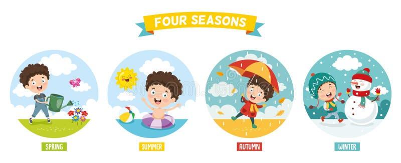 Wektorowa ilustracja dzieciak I Four Seasons royalty ilustracja