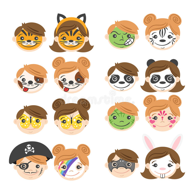 Wektorowa ilustracja dzieciak twarze Twarz obraz dla dzieciaków royalty ilustracja