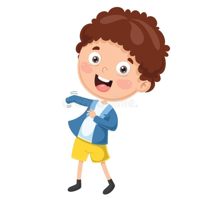 Wektorowa ilustracja dzieciaka Być ubranym Odziewa royalty ilustracja