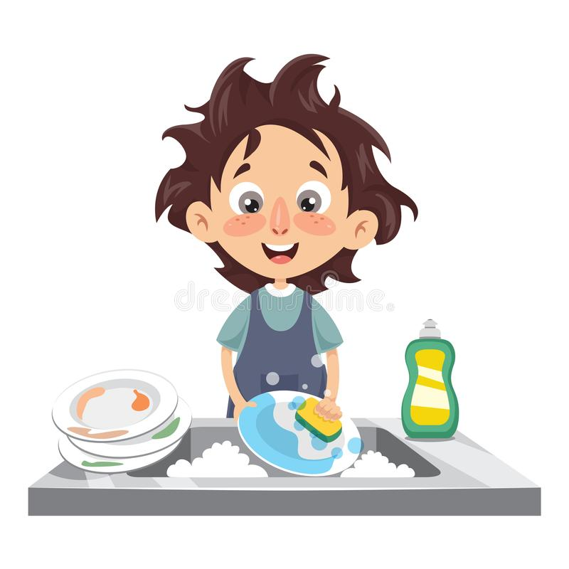 Wektorowa ilustracja dzieciaka domycia naczynia ilustracji