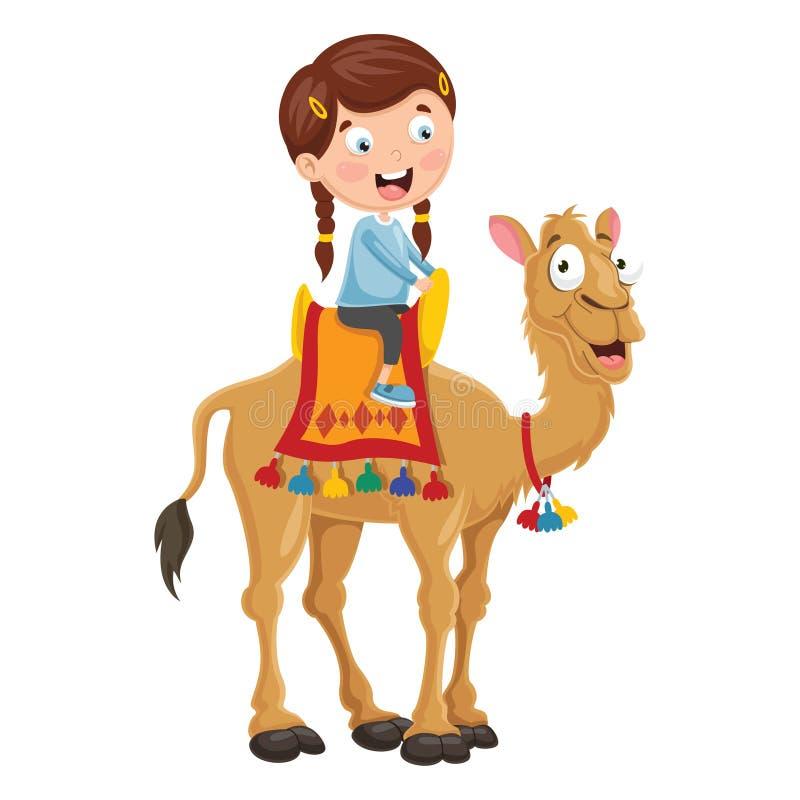 Wektorowa ilustracja dzieciaka Jeździecki wielbłąd royalty ilustracja