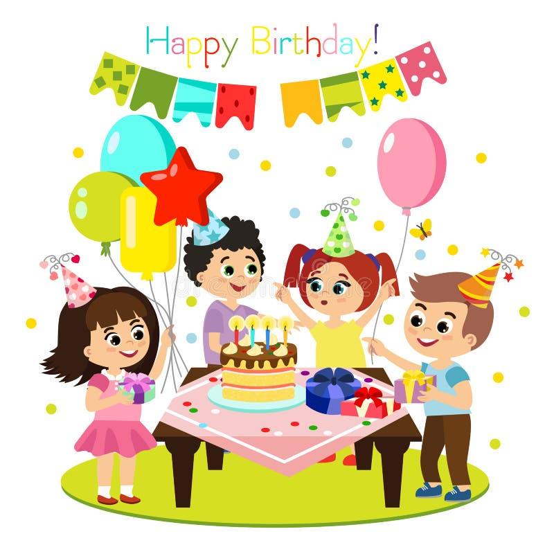 Wektorowa ilustracja dzieciaka przyjęcia urodzinowego, kolorowej i jaskrawej dekoracja, szczęśliwi dzieci zabawę, dziewczyny wpól ilustracji