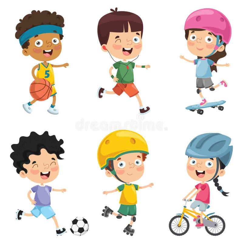 Wektorowa ilustracja dzieciaki Robi sportowi royalty ilustracja
