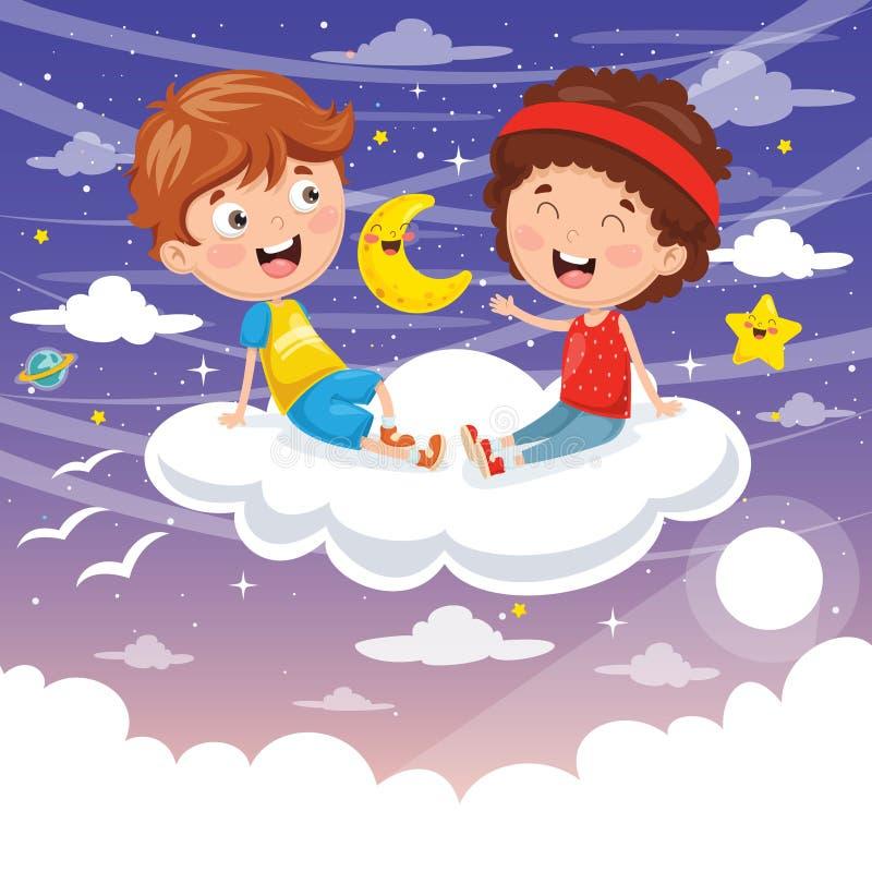 Wektorowa ilustracja dzieciaki Siedzi Na chmurze royalty ilustracja