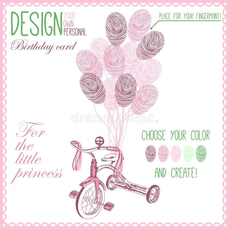 Wektorowa ilustracja dziecko bicykl dla dziewczyny ilustracji