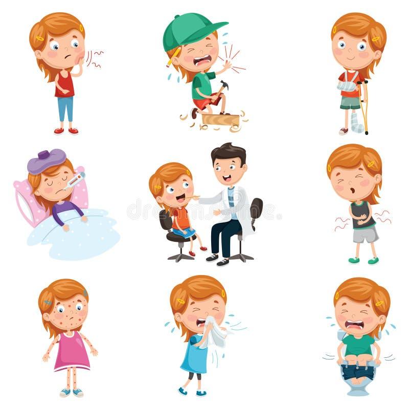 Wektorowa ilustracja dziecko choroby ilustracja wektor