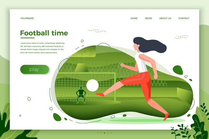 Wektorowa ilustracja - dziewczyna gracz futbolu royalty ilustracja