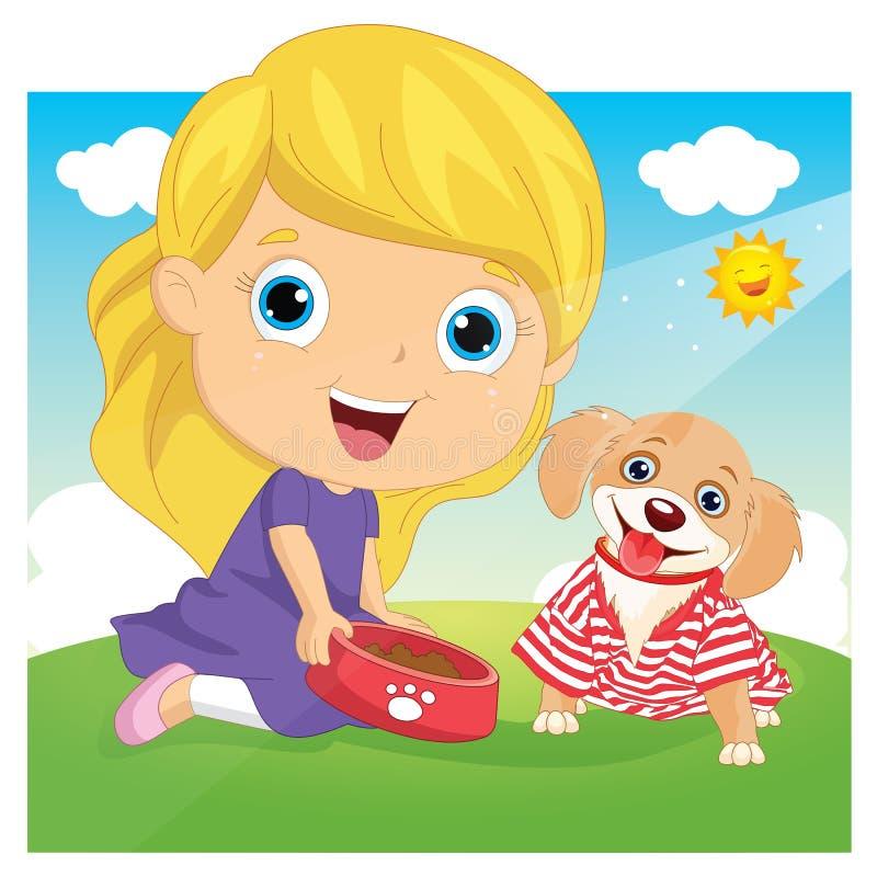 Wektorowa ilustracja dziewczyny karmienia pies royalty ilustracja