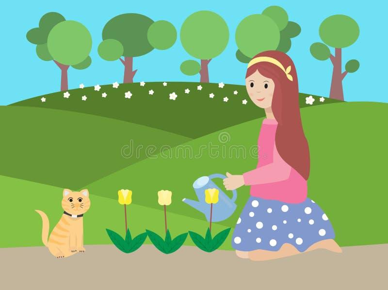 Wektorowa ilustracja dziewczyny podlewania kwiat royalty ilustracja
