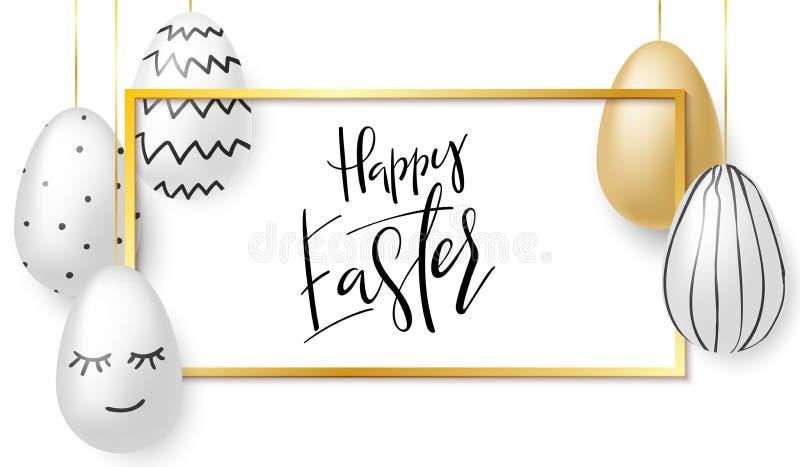 Wektorowa ilustracja Easter dnia powitań sztandaru szablon z ręki literowania etykietką - szczęśliwa wielkanoc z realistycznym ilustracji