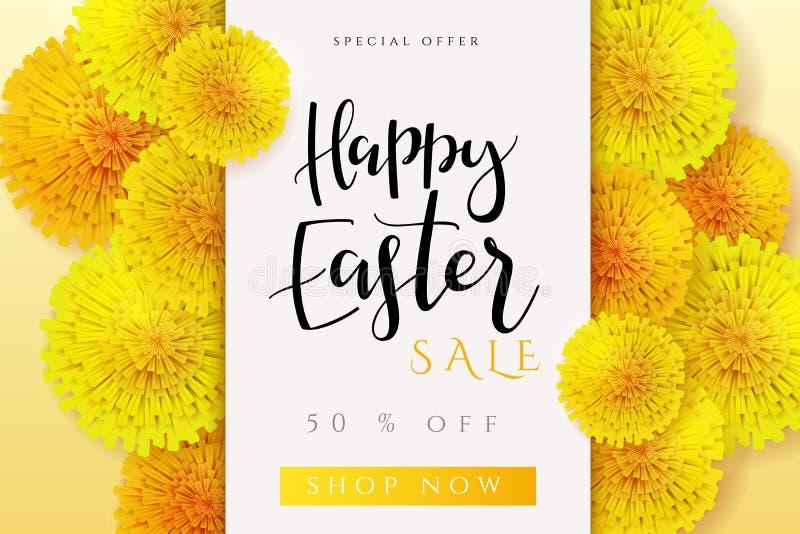Wektorowa ilustracja Easter sztandaru promocyjny szablon z ręki literowania etykietką z realistycznym - szczęśliwy Easter - royalty ilustracja