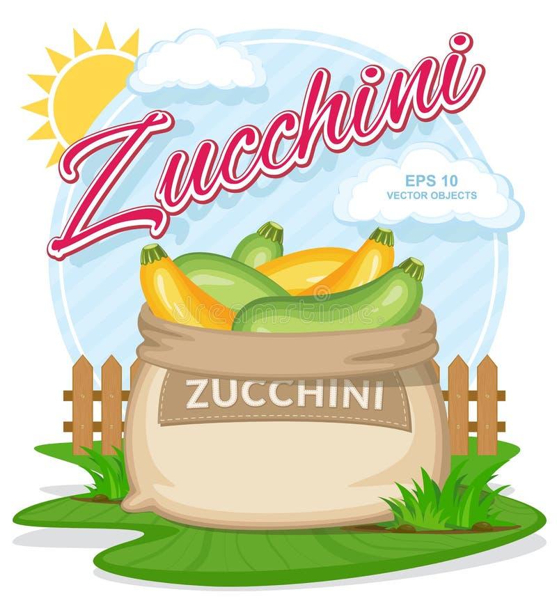 Wektorowa ilustracja eco produkty Dojrzały Zucchini w burlap worku royalty ilustracja