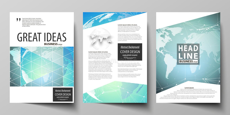 Wektorowa ilustracja editable układ trzy A4 formata nowożytnej pokrywy projektuje szablony dla broszurki, magazyn royalty ilustracja