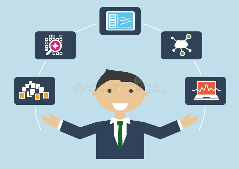 Wektorowa ilustracja IT ekspert z akcydensowym profilem dane naukowiec duży dane analityk lub ilustracja wektor