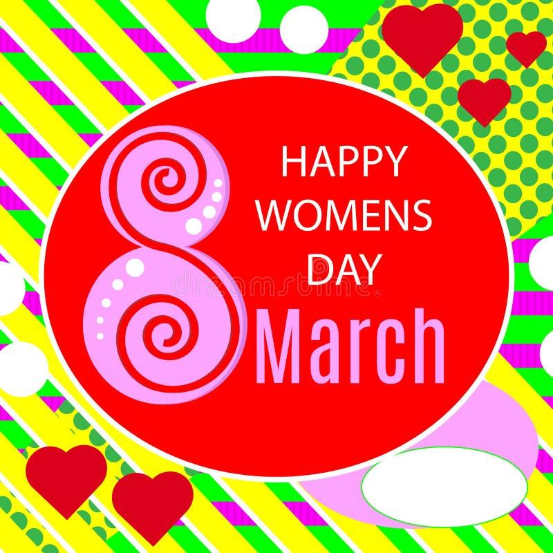 Wektorowa ilustracja eleganckiego 8 marszu kobiet ` s dnia szczęśliwy kartka z pozdrowieniami z literowanie typografii teksta zna ilustracja wektor