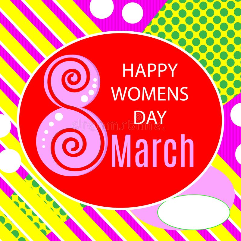 Wektorowa ilustracja eleganckiego 8 marszu kobiet ` s dnia szczęśliwy kartka z pozdrowieniami z literowanie typografii teksta zna ilustracji