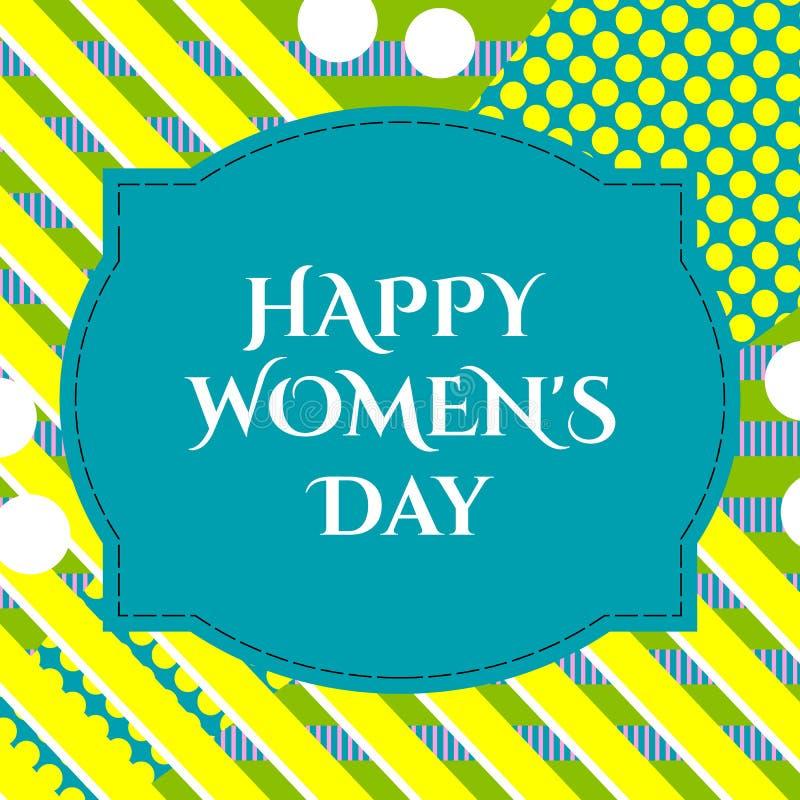Wektorowa ilustracja eleganckiego 8 marszu kobiet ` s dnia szczęśliwy kartka z pozdrowieniami z literowanie typografii teksta zna royalty ilustracja