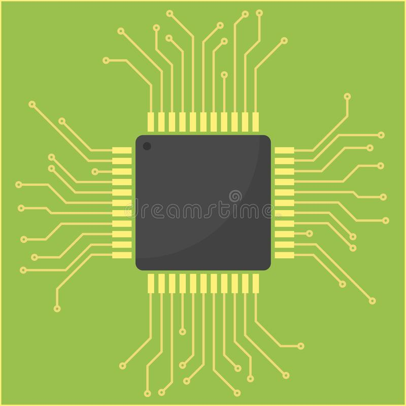 Wektorowa ilustracja elektryczny obwód z procesorem ilustracji