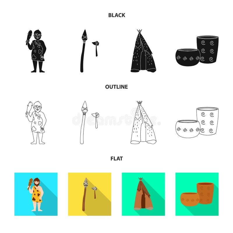 Wektorowa ilustracja ewolucja i neolityczna ikona Set ewolucja i pradawna wektorowa ikona dla zapasu ilustracji