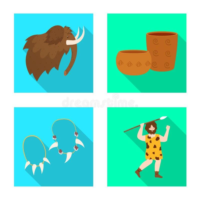 Wektorowa ilustracja ewolucja i neolityczna ikona Set ewolucja i pradawny akcyjny symbol dla sieci royalty ilustracja