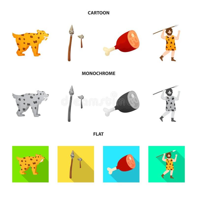 Wektorowa ilustracja ewolucja i neolityczna ikona Set ewolucja i pradawny akcyjny symbol dla sieci ilustracji