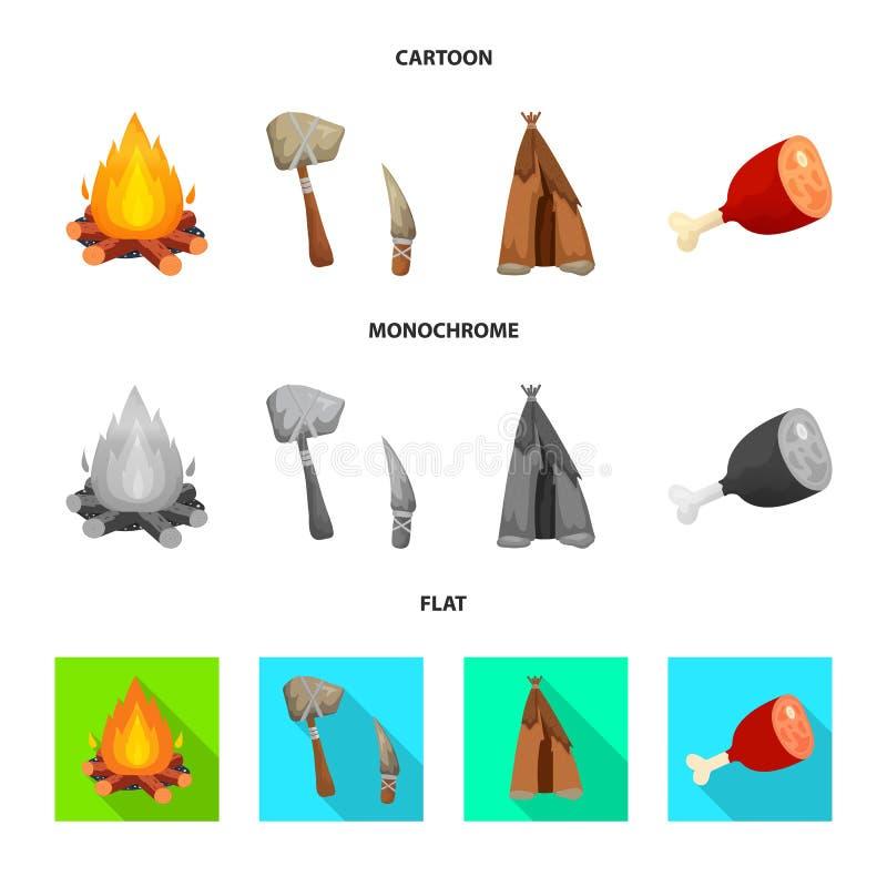 Wektorowa ilustracja ewolucja i neolityczny logo Kolekcja ewolucja i pradawna akcyjna wektorowa ilustracja royalty ilustracja